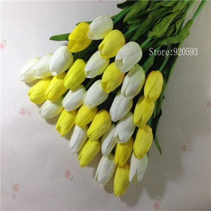 Free Shipping 31Pcs/lot Pu Mini Tulip Flower Real Touch Wedding Flower Bouquet Artificial Silk White Yellow