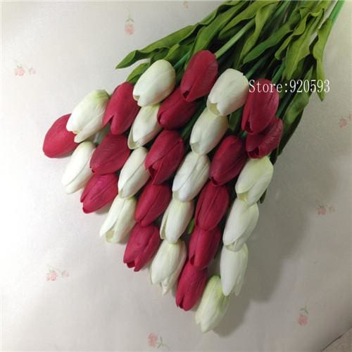 Free Shipping 31Pcs/lot Pu Mini Tulip Flower Real Touch Wedding Flower Bouquet Artificial Silk White Red