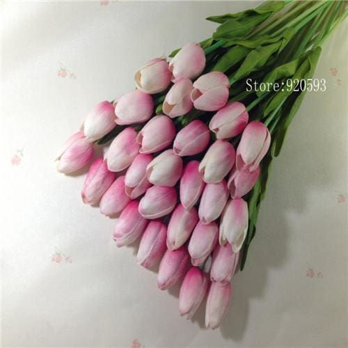Free Shipping 31Pcs/lot Pu Mini Tulip Flower Real Touch Wedding Flower Bouquet Artificial Silk Pink C
