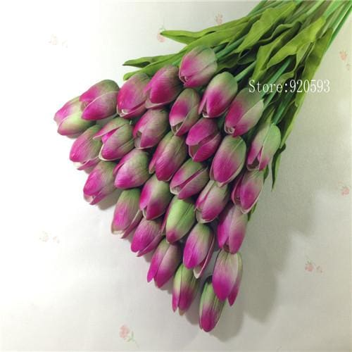 Free Shipping 31Pcs/lot Pu Mini Tulip Flower Real Touch Wedding Flower Bouquet Artificial Silk Green
