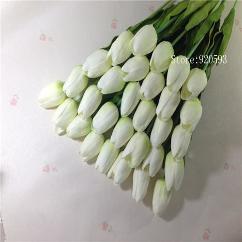Free Shipping 31Pcs/lot Pu Mini Tulip Flower Real Touch Wedding Flower Bouquet Artificial Silk White