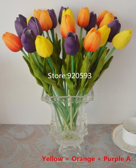 Free Shipping 31Pcs/lot Pu Mini Tulip Flower Real Touch Wedding Flower Bouquet Artificial Silk Mix Colors 4