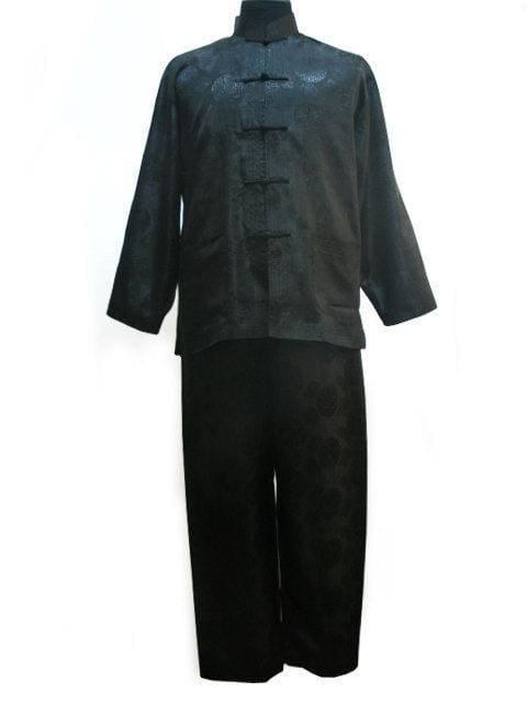 Free shipping ! Navy blue Mens Polyester Satin Pajama Sets jacket Trousers Sleepwear Nightwear SIZE black / S