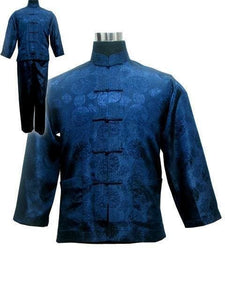 Free shipping ! Navy blue Men's Polyester Satin Pajama Sets jacket Trousers Sleepwear Nightwear SIZE