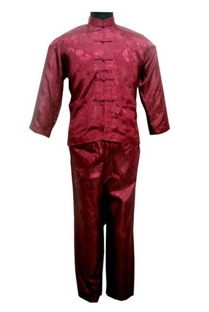 Free shipping ! Navy blue Mens Polyester Satin Pajama Sets jacket Trousers Sleepwear Nightwear SIZE burgundy / S