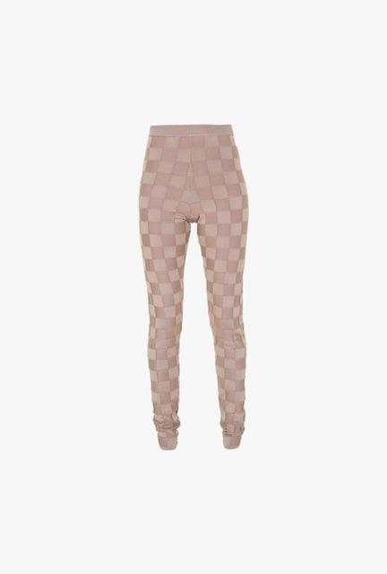 Free Shipping New Women Summer Casual 2016 High Quality Pencil Nude Checkered Jacquard Rayon Bandage Pants 2 / Xs / United States