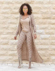 Free Shipping New Women Summer Casual 2016 High Quality Pencil Nude Checkered Jacquard Rayon Bandage Nude Set / Xs / United States