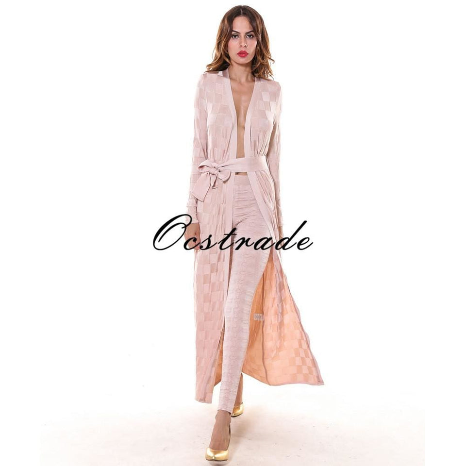 Free Shipping New Women Summer Casual 2016 High Quality Pencil Nude Checkered Jacquard Rayon Bandage