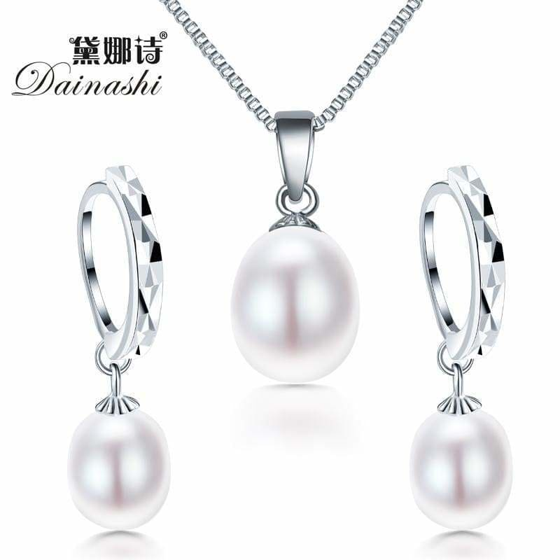 freshwater pearl necklacPromotion jewelry set ! Classic 925 sterling silver jewelry set - MBMCITY