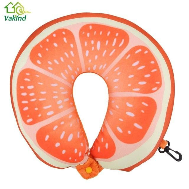 Fruit U Shaped Pillow Cushion Nanoparticles Neck Protection Pillow Car Travel Massage Pillow 3D As Picture 2