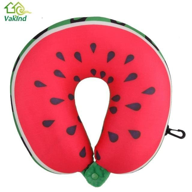 Fruit U Shaped Pillow Cushion Nanoparticles Neck Protection Pillow Car Travel Massage Pillow 3D As Picture 3