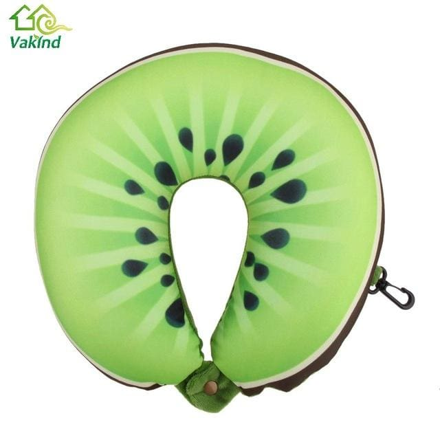 Fruit U Shaped Pillow Cushion Nanoparticles Neck Protection Pillow Car Travel Massage Pillow 3D As Picture 1