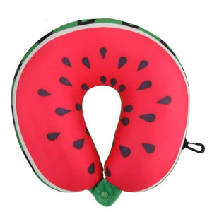 Fruit U Shaped Travel Pillow Nanoparticles Car Neck Pillow Watermelon Lemon Kiwi Orange Pillows Soft Watermelon