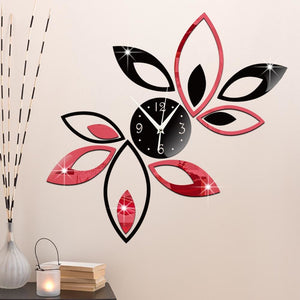Funlife Silver Creative Rhombus Leaves Leaf Wall Clock Mirror Fashion Modern Removable DIY Acrylic - MBMCITY