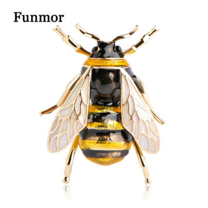 Funmor Bumblebee Brooch Corsage Enamel Esmalte Wing Insect Hats Scarf Clips Accessories Women Men