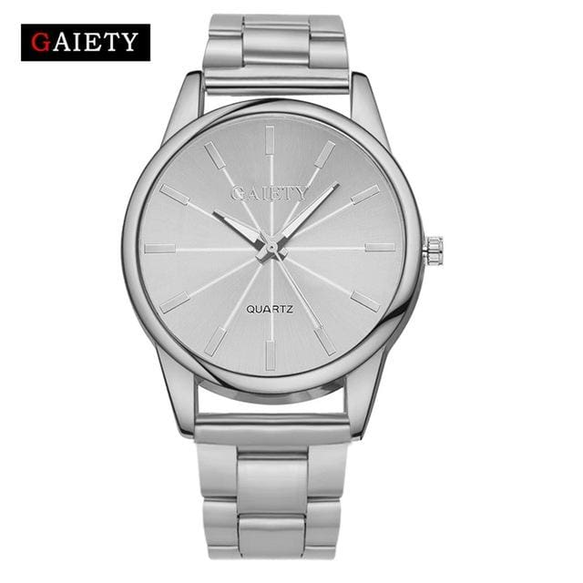 Gaiety Brand Fashion Gold Silver Quartz Watch Women Famous Wrist Watch Luxury Full Stainless Steel Silver