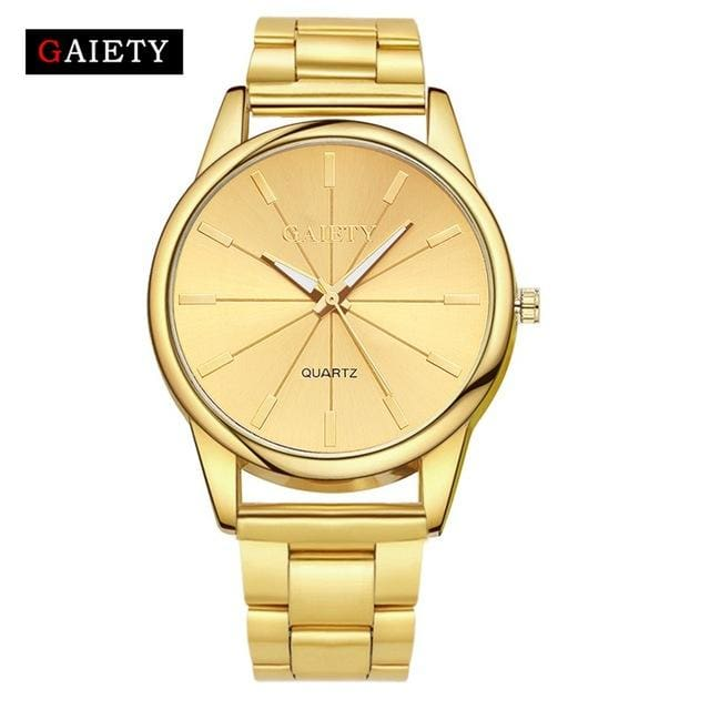 Gaiety Brand Fashion Gold Silver Quartz Watch Women Famous Wrist Watch Luxury Full Stainless Steel Gold