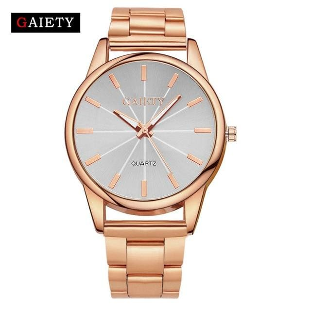 Gaiety Brand Fashion Gold Silver Quartz Watch Women Famous Wrist Watch Luxury Full Stainless Steel Rose Gold