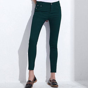 GAREMAY Womens Candy Pants Pencil Trousers 2017 Spring Fall Khaki Stretch Pants For Women Slim Dark Green / 25