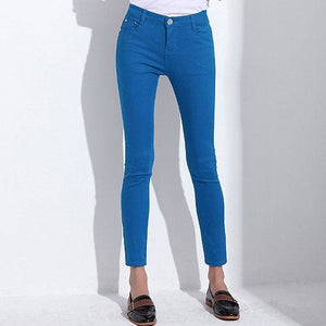 GAREMAY Womens Candy Pants Pencil Trousers 2017 Spring Fall Khaki Stretch Pants For Women Slim Sky Blue / 25