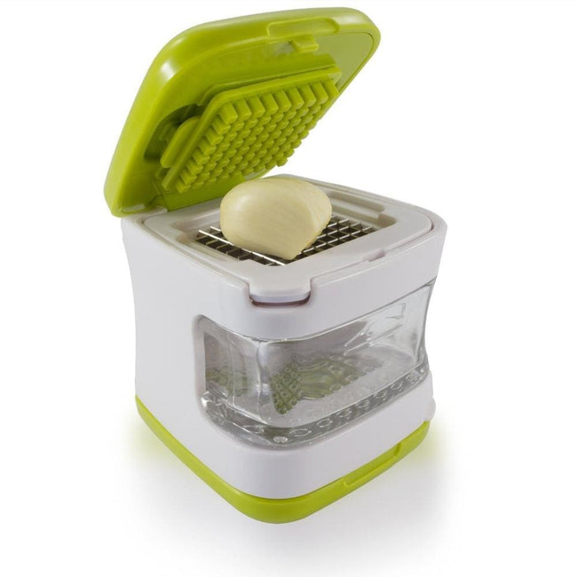 Garlic Press  Very Sharp Stainless Steel Blades, Inbuilt Clear Plastic Tray, Green - MBMCITY