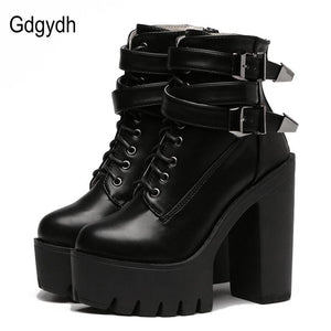 Gdgydh 2018 Spring Fashion Women Boots High Heels Platform Buckle Lace Up Leather Short Booties