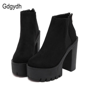 Gdgydh Fashion Black Ankle Boots For Women Thick Heels 2018 New Autumn Flock Platform Shoes High