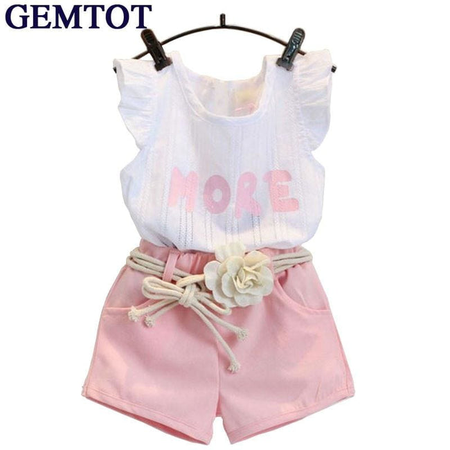 GEMTOT Baby Children Clothes Set for Girls Fly Sleeve Flower Cotton Shirt+Shorts Summer Set Sport - MBMCITY