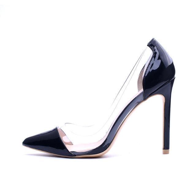 GENSHUO Women Pumps 2018 Transparent 11cm High Heels Sexy Pointed Toe Slip-on Wedding Party Shoes black pu / 5.5