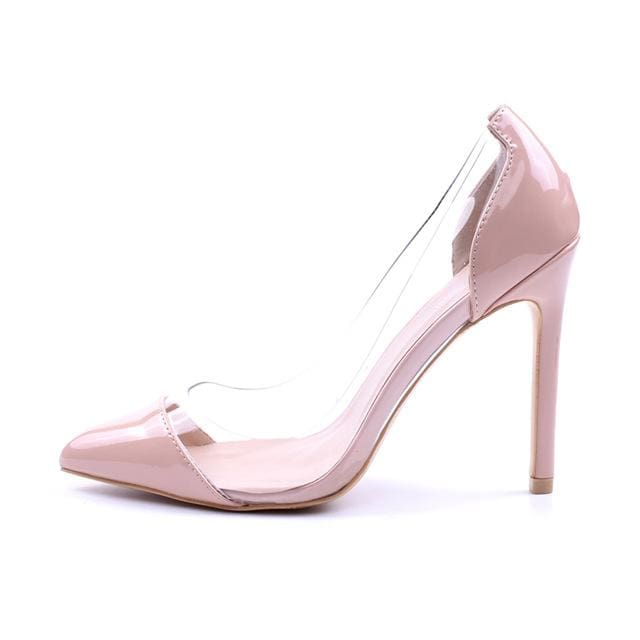 GENSHUO Women Pumps 2018 Transparent 11cm High Heels Sexy Pointed Toe Slip-on Wedding Party Shoes apricot / 5.5