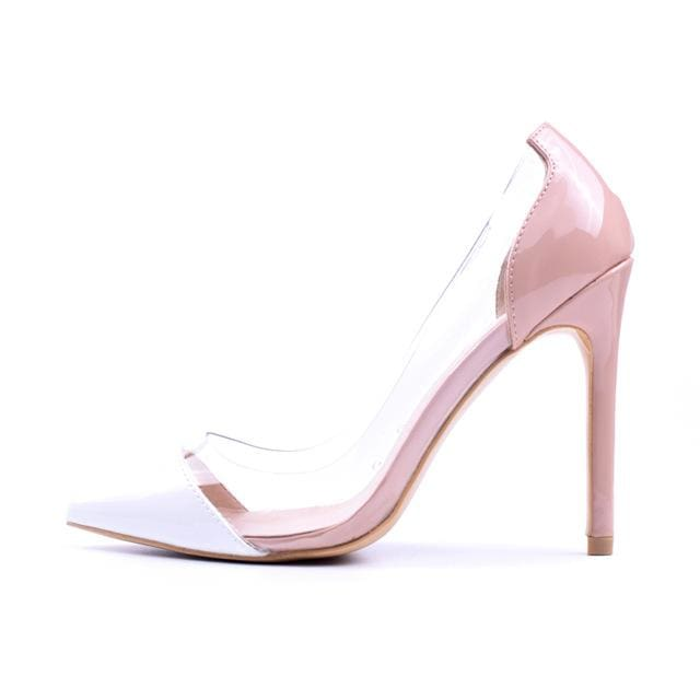 GENSHUO Women Pumps 2018 Transparent 11cm High Heels Sexy Pointed Toe Slip-on Wedding Party Shoes apricot and white / 5.5