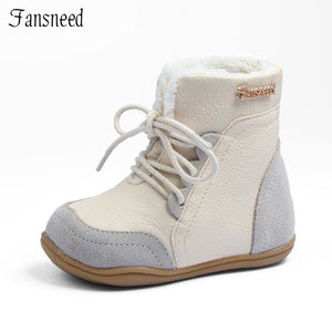 Genuine Leather Child Slip-Resistant Female Snow Boots Child Boots Male Medium-Leg Child