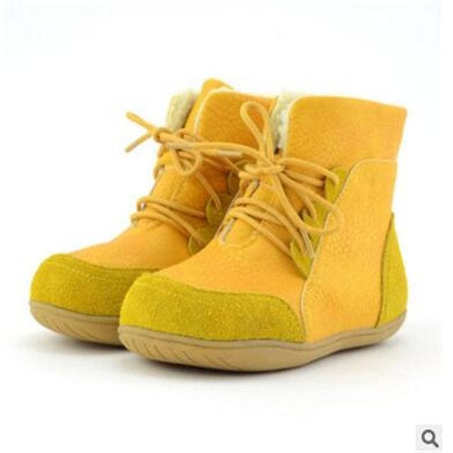 Genuine Leather Child Slip-Resistant Female Snow Boots Child Boots Male Medium-Leg Child Yellow / 1