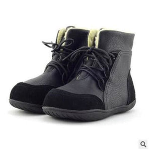 Genuine Leather Child Slip-Resistant Female Snow Boots Child Boots Male Medium-Leg Child Black / 1