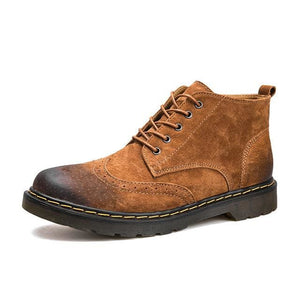 Genuine Leather Men Boots Spring/Autumn Ankle Boots Fashion Footwear Lace Up Shoes Men High Quality - MBMCITY