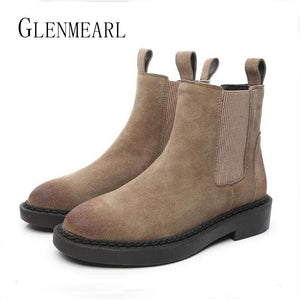 Genuine Leather Women Chelsea Boots Brand Winter Warm Short Ankle Boots Plus Size Platform Single