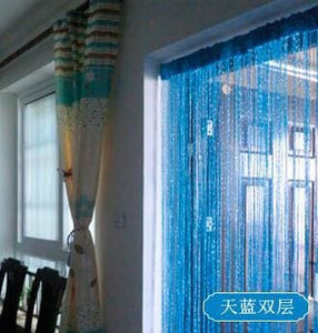 GIANTEX Shiny Tassel Flash Silver Line String Curtain Window Door Divider Sheer Curtain Valance Home - MBMCITY