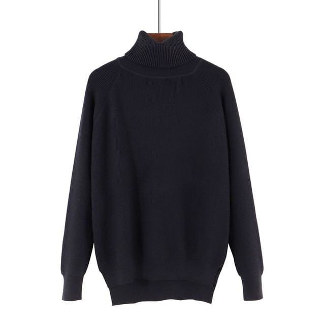 Gigogou Loose Turtleneck Women Autumn Winter Sweater Thick Warm Pullover And Sweater Soft Long Black / One Size