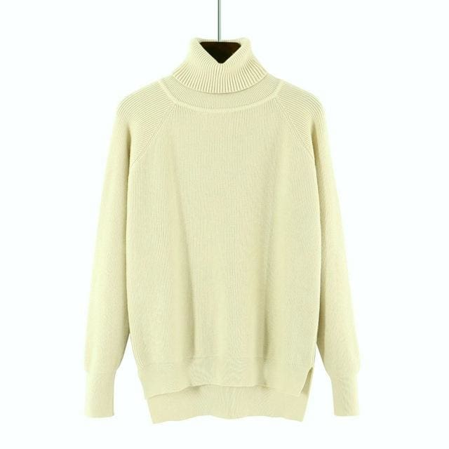 Gigogou Loose Turtleneck Women Autumn Winter Sweater Thick Warm Pullover And Sweater Soft Long Apricot / One Size