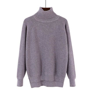 Gigogou Loose Turtleneck Women Autumn Winter Sweater Thick Warm Pullover And Sweater Soft Long Grey / One Size