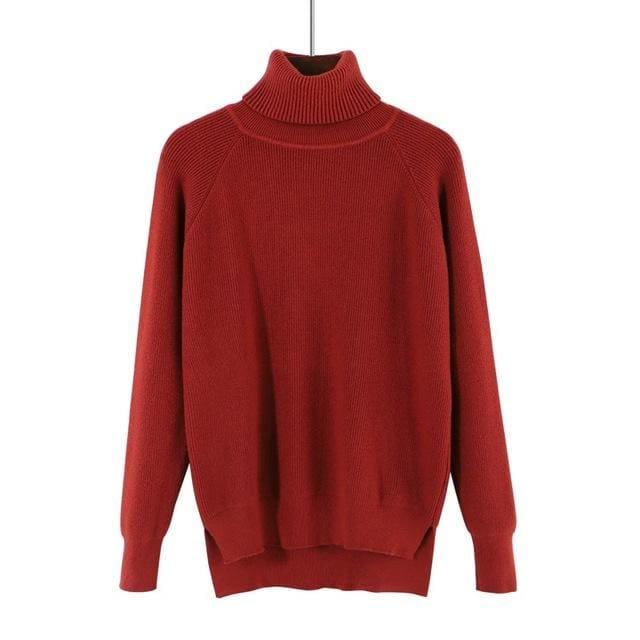 Gigogou Loose Turtleneck Women Autumn Winter Sweater Thick Warm Pullover And Sweater Soft Long Red Brown / One Size