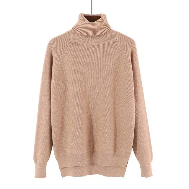 Gigogou Loose Turtleneck Women Autumn Winter Sweater Thick Warm Pullover And Sweater Soft Long Khaki / One Size