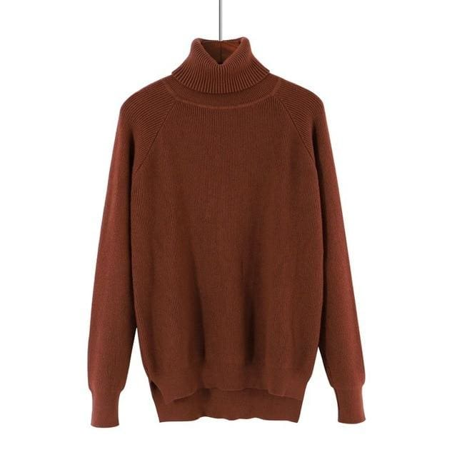 Gigogou Loose Turtleneck Women Autumn Winter Sweater Thick Warm Pullover And Sweater Soft Long Coffee / One Size