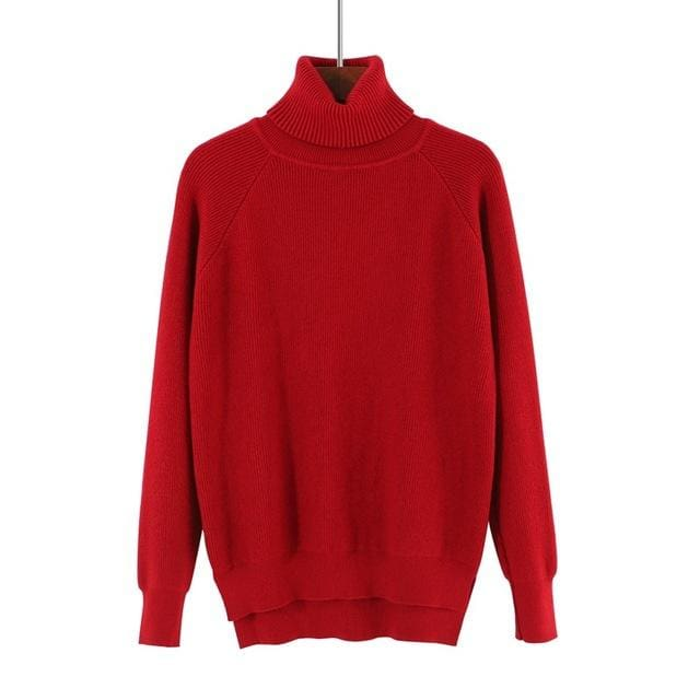 Gigogou Loose Turtleneck Women Autumn Winter Sweater Thick Warm Pullover And Sweater Soft Long Wine Red / One Size
