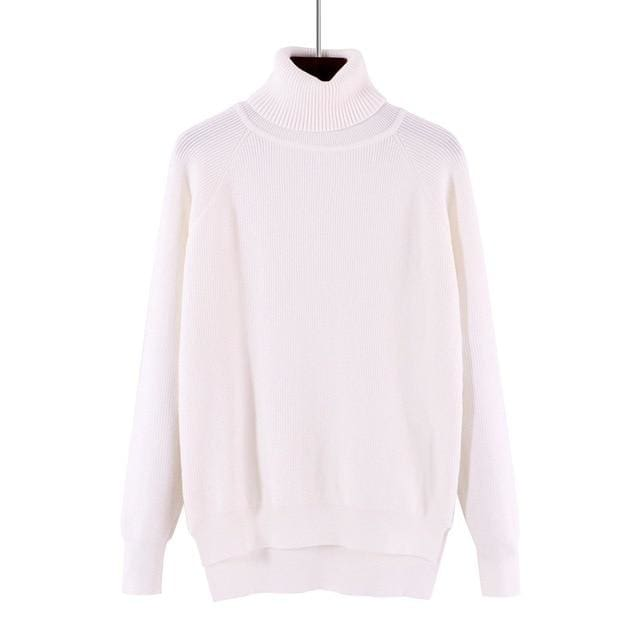 Gigogou Loose Turtleneck Women Autumn Winter Sweater Thick Warm Pullover And Sweater Soft Long White / One Size