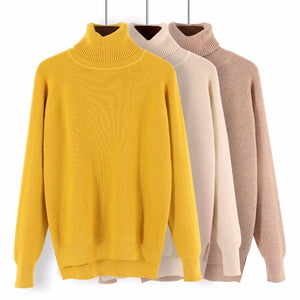 Gigogou Loose Turtleneck Women Autumn Winter Sweater Thick Warm Pullover And Sweater Soft Long