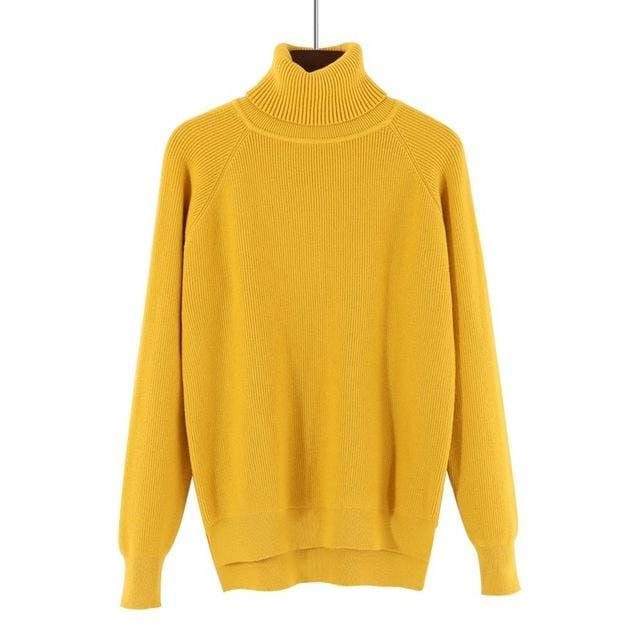 Gigogou Loose Turtleneck Women Autumn Winter Sweater Thick Warm Pullover And Sweater Soft Long Yellow / One Size