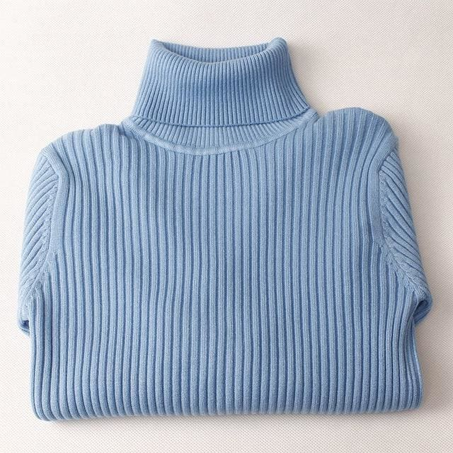 Gigogou Thick Turtleneck Warm Women Sweater Autumn Winter Knitted Femme Pull High Elasticity Soft Blue / One Size
