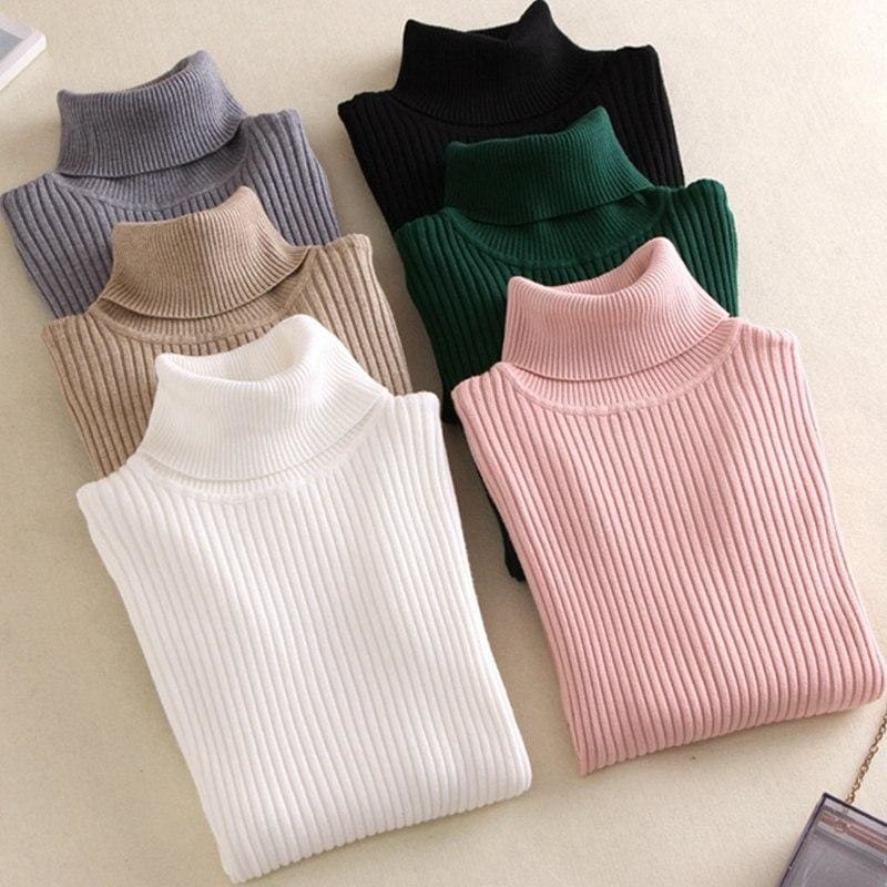 Gigogou Thick Turtleneck Warm Women Sweater Autumn Winter Knitted Femme Pull High Elasticity Soft