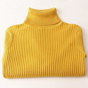 Gigogou Thick Turtleneck Warm Women Sweater Autumn Winter Knitted Femme Pull High Elasticity Soft Yellow / One Size